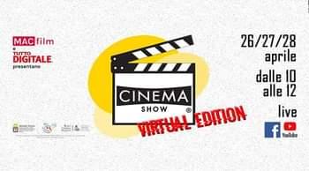 Kan een afbeelding zijn van de tekst 'MAC film DIGITALE TUTTO presentano 26/27/28 aprile dalle 10 alle 12 live f YouTube CINEMA VIRTUAL VIRTUALEDITION EDITION SHOW'